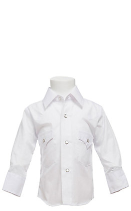 Ely Cattleman Solid White Long Sleeve Snap  Sizes 0-7