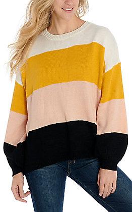 Newbury Kustom Women's Mustard Color Block Long Sleeve Sweater