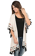 Judith March Cream with Arrow Print Embroidery and Tassels Short Sleeve Cardigan