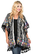 Judith March Black and White Snake Print with Multi Color Floral Embroidered 1/2 Sleeve Kimono