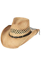 Cavenders Raffia Vent Double Cross Straw Cowboy Hat