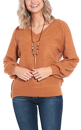 Newbury Kustom Women's Rust V-Neck Sweater