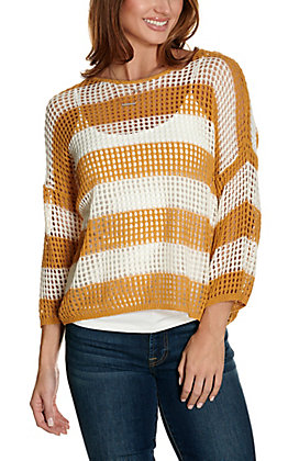 Newbury Kustom Women's Mustard and White Stripes Long Sleeves Open Knit Fashion Top