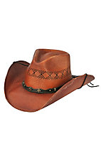 Cavenders Dark Brown Shantung Vent Straw Cowboy Hat
