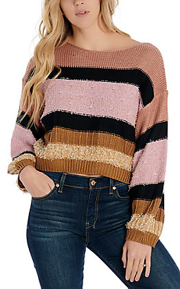 Newbury Kustom Women's Rose Multi Striped Sweater