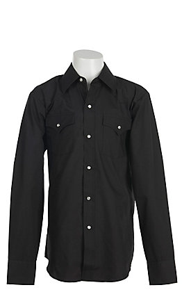 Ely Cattleman Boys' Solid Black Long Sleeve Western Shirt