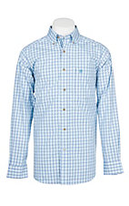 Ariat Pro Series White, Blue and Mint Vinny Plaid Cavender's Exclusive L/S Western Shirt