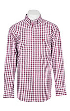 Ariat Pro Series White and Blue Plaid Cavender's Exclusive L/S Western Shirt