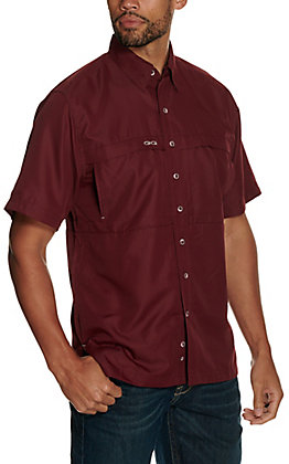 GameGuard Outdoors Men's Maroon MicroFiber Fishing Shirt - Extended Sizes