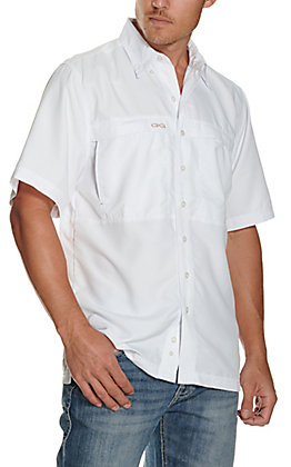 GameGuard Outdoors Men's White MicroFiber Fishing Shirt - Extended Sizes