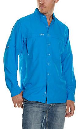 GameGuard Outdoors Men's Atlantic Blue MicroFiber Long Sleeve Fishing Shirt