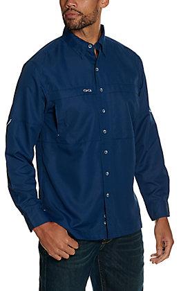 GameGuard Outdoors Men's Deep Water MicroFiber Long Sleeve Fishing Shirt - Extended Sizes