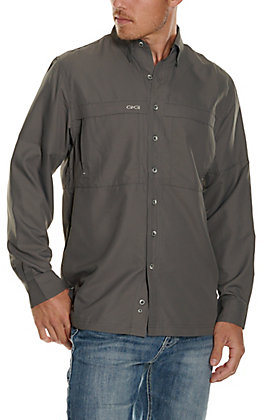 GameGuard Outdoors Men's Gunmetal MicroFiber Long Sleeve Fishing Shirt - Extended Sizes