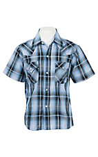 Ely Cattleman Boy's Blue Plaid with Silver Lurex S/S Western Shirt