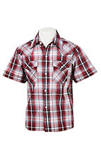 Ely Cattleman Boy's Red Plaid with Silver Lurex S/S Western Shirt