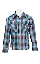 Ely Cattleman Boy's Blue and Black Plaid with Silver Lurex L/S Western Shirt