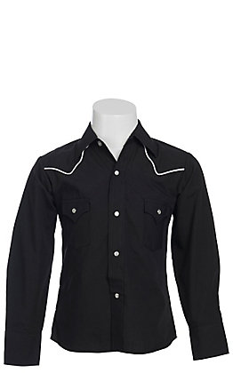 Ely Cattleman Boys' Black Long Sleeve Western Shirt