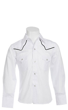 Ely Cattleman Boys' White Long Sleeve Western Shirt