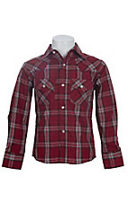Ely Cattleman Boys L/S Burgundy Plaid Lurex Western Shirt 102991BL