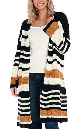 Newbury Kustom Women's Black & Cream Striped Sweater Cardigan