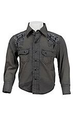 Ely Cattleman Boy's Grey with Tribal Embroidery Western Shirt