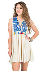Judith March Cream with Aztec Embroidered Yokes with Tassels Sleeveless Dress
