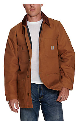 Carhartt Men's Brown Duck with Corduroy Collar Chore Coat - Big & Tall