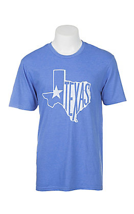 Men's Royal Blue with White Texas Screen Print Short Sleeve T-Shirt