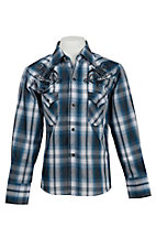 Ely Cattleman Boy's Blue & Charcoal Plaid Western Shirt