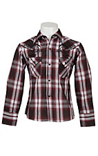 Ely Cattleman Boy's Rust Red & Chocolate Plaid Western Shirt