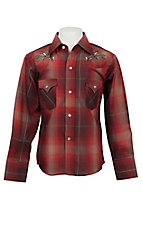 Ely Cattleman Boy's Brick & Red Plaid Western Shirt