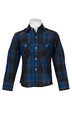 Ely Cattleman Boy's Blue & Black Plaid Western Shirt