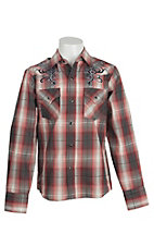 Ely Cattleman Boy's Red & Grey Plaid Western Shirt