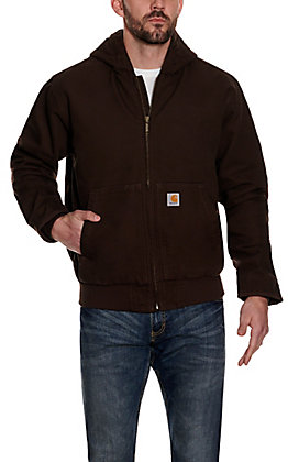 Carhartt Men's Dark Brown Quilted Nylon-lined Active Jacket - Big & Tall