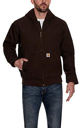 Carhartt Men's Dark Brown Quilted Nylon-Lined Active Jacket
