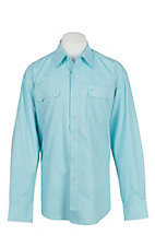 Stetson Men's Blue and White Print L/S Western Snap Shirt
