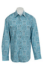 Stetson Men's Turquoise, Grey & White Medallion Print Western Shirt