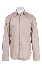 Stetson Men's Orange & Grey Mini Print Long Sleeve Western Shirt