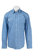 Stetson Men's Blue & White Mini Print Long Sleeve Western Shirt