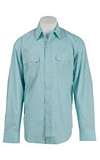 Stetson Men's Turquoise and Blue Print L/S Western Shirt