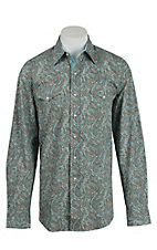 Stetson Men's Blue and Taupe Paisley Pattern L/S Western Shirt