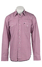 Stetson Men's Red Mini Print Long Sleeve Western Shirt