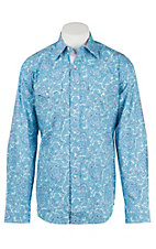 Stetson Men's Blue Paisley Long Sleeve Western Shirt