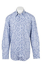 Stetson Men's Blue Paisley Over Stripes Long Sleeve Western Shirt