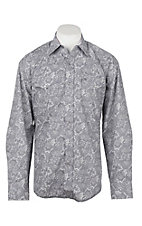 Stetson Men's Grey Paisley Long Sleeve Western Shirt
