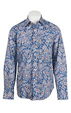 Stetson Men's Blue, Red, and Cream Paisley Print L/S Western Shirt