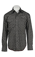 Stetson Men's Black and White Paisley Print Long Sleeve Western Shirt