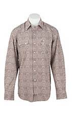 Stetson Men's Red Medallion Print Long Sleeve Western Shirt