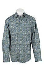 Stetson Men's Grey, Green, and Blue Paisley Long Sleeve Western Shirt
