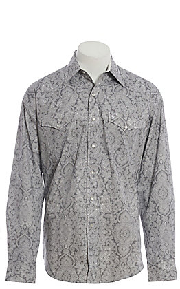 Stetson Men's Grey Medallion Print Long Sleeve Western Shirt